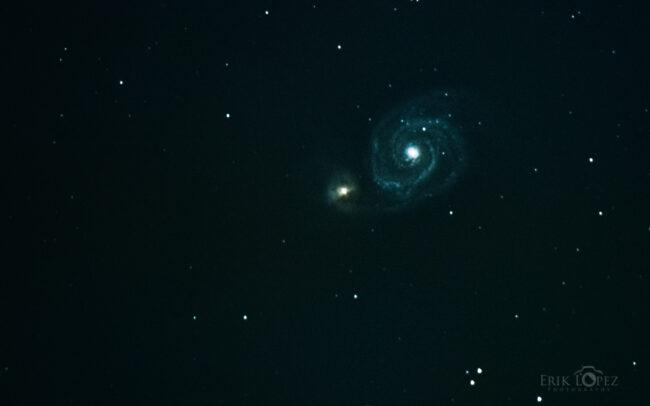M51 - The Whirlpool Galaxy. Carretero, Puebla, México. 13 de marzo de 2021, 21:35 hrs. f/0 13 sec ISO-8000 Celestron Advanced VX 9.25